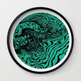 Marble circle minimal design suminagashi japanese marbling minimalist art jade Wall Clock