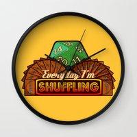 magic the gathering Wall Clocks featuring Everyday I'm Shuffling  |  Magic The Gathering by Silvio Ledbetter