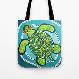 Funky Green Turtle Tote Bag