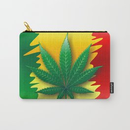 Cannabis Leaf on Rasta Colors Flag Carry-All Pouch
