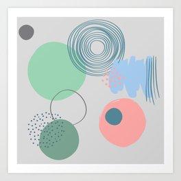 nordic scandinavian minimalist abstract grey blue pink mint green dots circle  Art Print