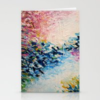 jazzberry Stationery Cards featuring PARADISE DREAMING Colorful Pastel Abstract Art Painting Textural Pink Blue Tropical Brushstrokes by EbiEmporium