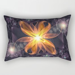 Beautiful Orange Star Lily Fractal Flower at Night Rectangular Pillow
