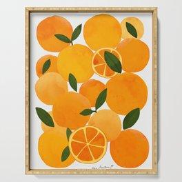 mediterranean oranges still life  Serving Tray