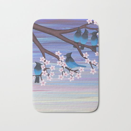 Steller's jays and cherry blossoms Bath Mat