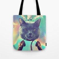 saga Tote Bags featuring galactic Cats Saga 3 by Carolina Nino