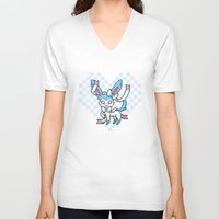 sylveon V-neck T-shirts featuring 8-Bit Shiny Sylveon (Textless) by einjelato
