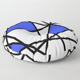Geometric Modern triangles - white blue Floor Pillow