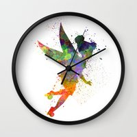 tinker bell Wall Clocks featuring Tinker bell in watercolor by Paulrommer