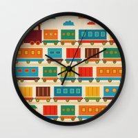 train Wall Clocks featuring Train by Kakel