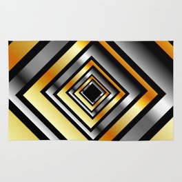 Composition with metallic squares-metal texture with illusion effectComposition with metallic square Rug