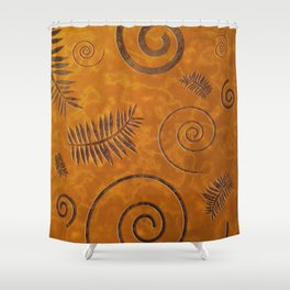 Graphic Fossil Leaf and Shell Shapes Red Sand Pattern Shower Curtain