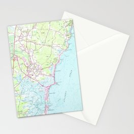 Vintage Map of Hampton Beach NH (1957) Stationery Cards