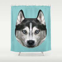 husky Shower Curtains featuring Husky // Blue by peachandguava