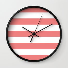 Light coral - solid color - white stripes pattern Wall Clock