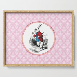 Alice in Wonderland | The White Rabbit Checks the Time | Pink Damask Pattern | Serving Tray