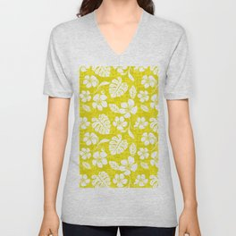 Bright Yellow & White Hibiscus Aloha Hawaiian Flower Blooms and Tropical Banana Leaves Pattern Unisex V-Neck