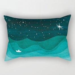 Starry Ocean, teal sailboat watercolor sea waves night Rechteckiges Kissen