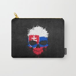 Flag of Slovakia on a Chaotic Splatter Skull Carry-All Pouch