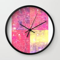 squirtle Wall Clocks featuring Squirtle Squad by pkarnold + The Cult Print Shop