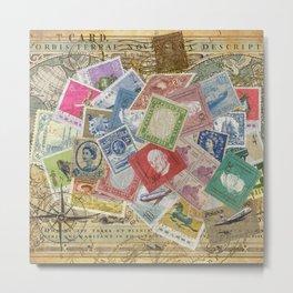 World Stamps Metal Print