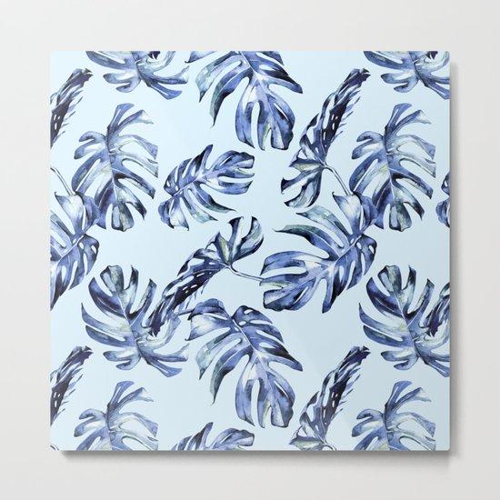 Tropical Palm Leaves Blue Metal Print