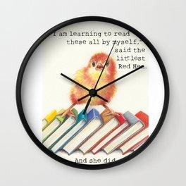 Little Red Hen Reads Wall Clock