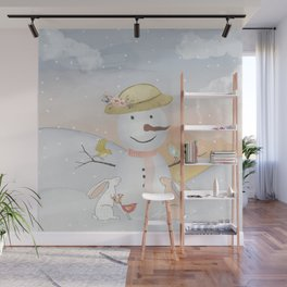 Winter Wonderland - Snowman birds and bunnies - Watercolor illustration Wall Mural