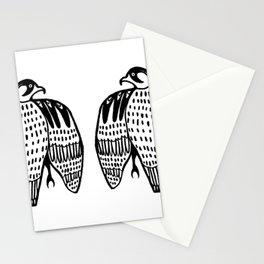 Twin Falcons Black Line Drawing Stationery Cards