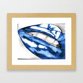 Hot Lips Blue Framed Art Print