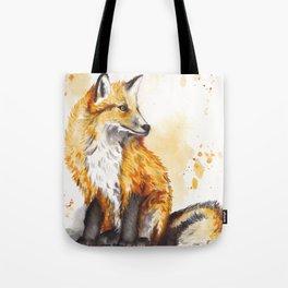 Green Eyed Fox Watercolor Painting Tote Bag