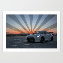 Nissan GT-R R35 LibertyWalk Widebody with Rising Sun Art Print