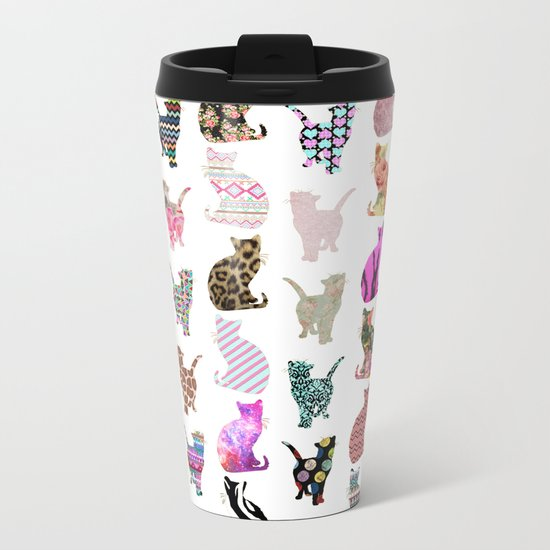 Girly Whimsical Cats aztec floral stripes pattern Metal Travel Mug