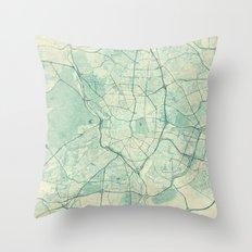 Madrid Map Blue Vintage Throw Pillow