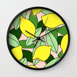 Lemons - Lemon Pattern - January Wall Clock