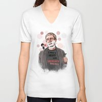 johnlock V-neck T-shirts featuring Shaving by Monika Gross