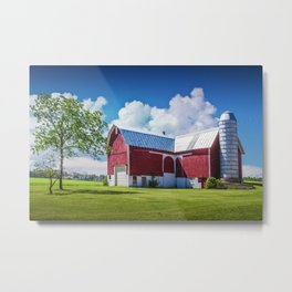Cloudy Blue Sky with Red Barn in West Michigan Metal Print