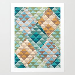 Triangle Patter No.15 Shifting Teal and Yellow Art Print