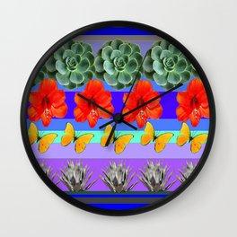 ABSTRACTED BOTANICAL ART PATTERN Wall Clock