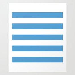 Carolina blue - solid color - white stripes pattern Art Print