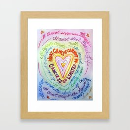 Rainbow Heart Colorful What Cancer Cannot Do Poem Framed Art Print