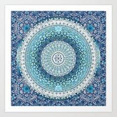 Teal Tapestry Mandala Art Print