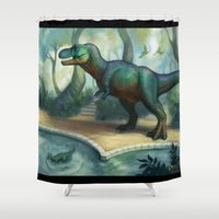trex Shower Curtains featuring Trex pool by KateArts