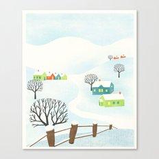 Snowy Little Town Canvas Print