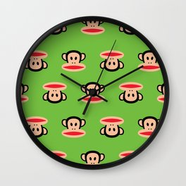 Julius Monkey Pattern by Paul Frank - Green Wall Clock
