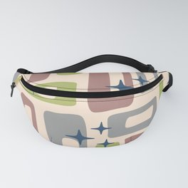 Retro Mid Century Modern Abstract Pattern 925 Gray Chartreuse Brown Fanny Pack