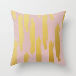 Gold Brushstrokes on Dusty Rose Throw Pillow