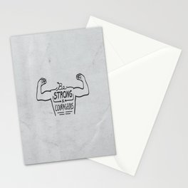 Be Strong & Courageous (Black Version) Stationery Cards