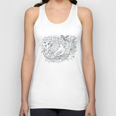 Sketched bird and flowers Unisex Tank Top