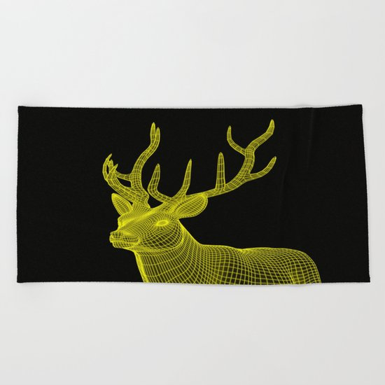 numeric deer 4 Beach Towel